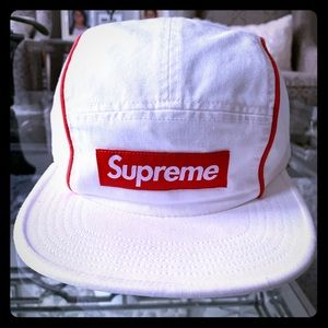 Supreme piping camp cap white